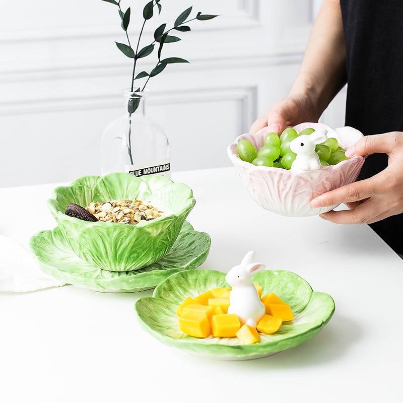 Ceramic Children's Tableware Rabbit Cabbage Bowl Cartoon Animal Tableware Fruit Salad Dessert Bowl Kitchen Dinnerware Sets