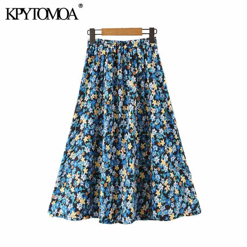 Vintage Elegant Floral Print Pleated Midi Skirt Women 2020 Fashion A Line Elastic Waist Female Skirts Casual Faldas Mujer