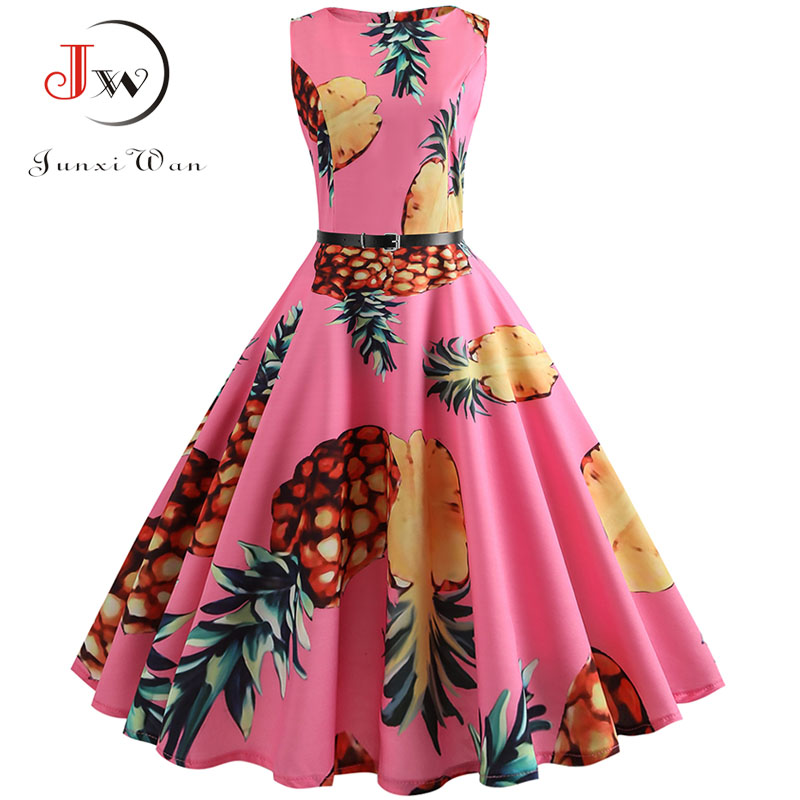 Pineapple Print Vintage Dress Women Summer  Pin Up Retro 50s Rockabilly Sleeveless A-Line Midi Party Dresses Belt Plus Size
