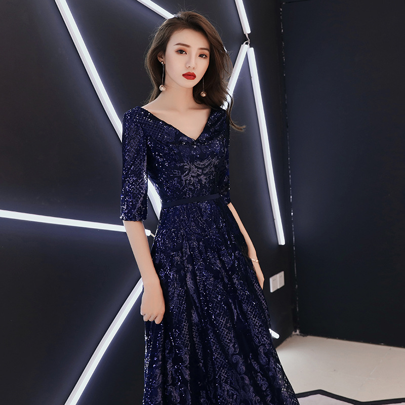 2019 New Style V-neck Half-sleeve Shirt Long Banquet Late Formal Dress Blue Sequin Nobility Elegant Annual General Meeting Host