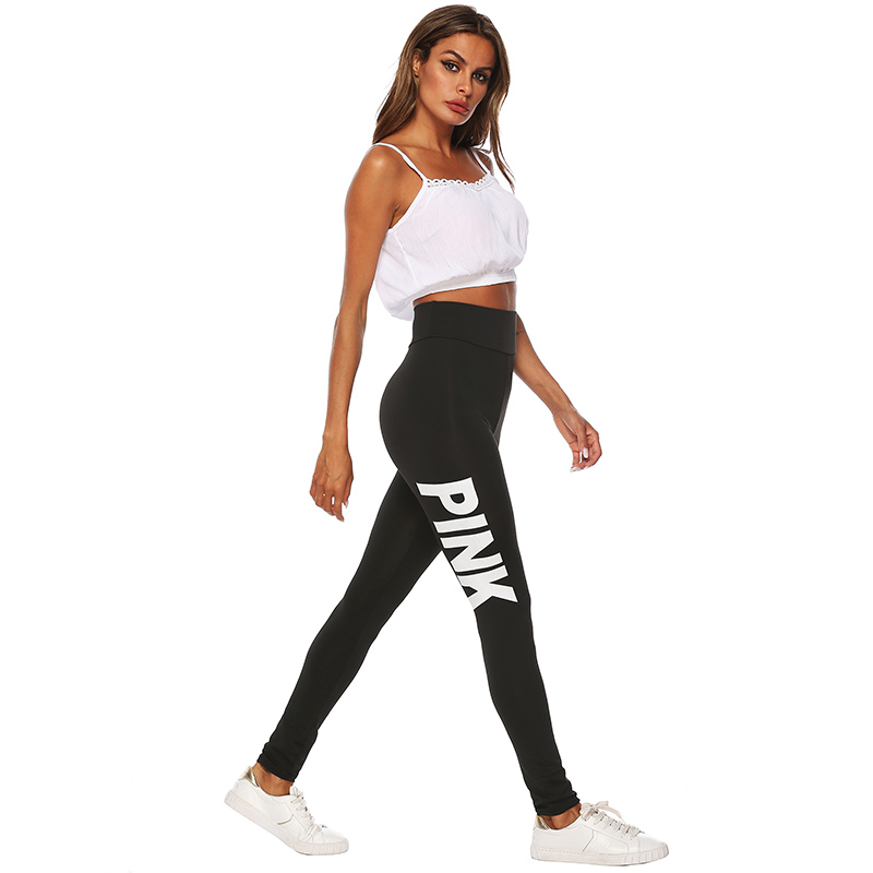 2019 New Women PINK letter printing Leggings Push Up Trousers Sexy Casual Warm High Waist Legging Elastic Pencil Pants Plus size 35