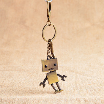 [Funny] 30pcs/lot Collection Retro robot model Pendant keychain Action Toy Metal Figures car key chain phone Keyring key Holder