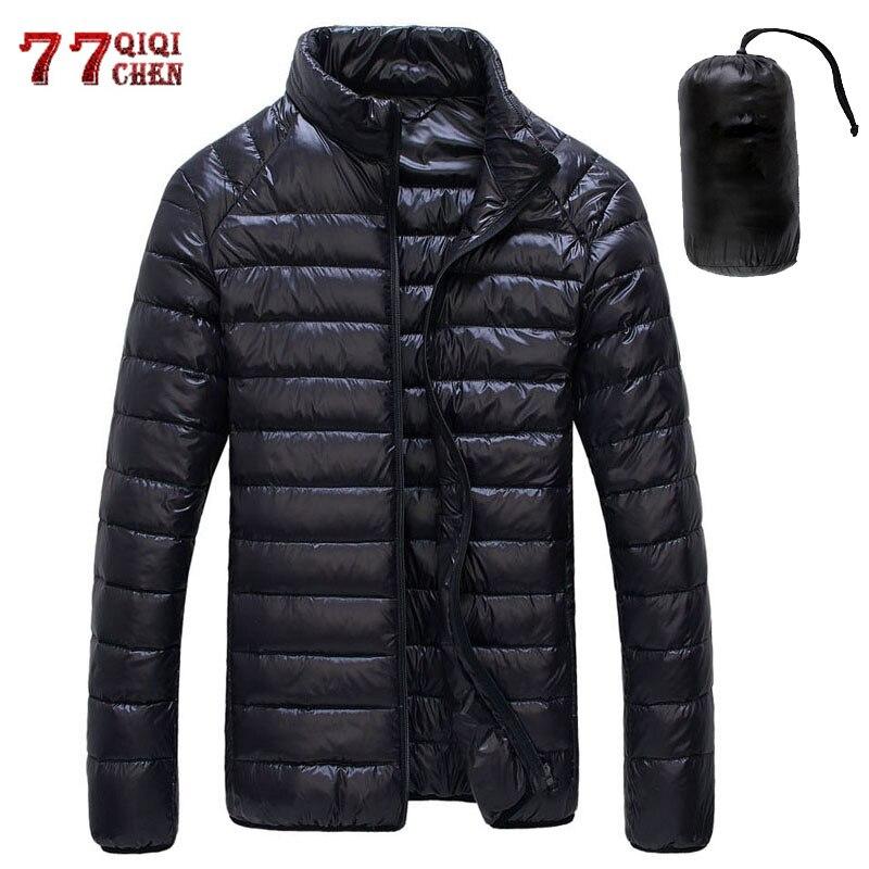 Осенне-зимний пуховик для мужчин, Повседневный, стоячий воротник, ультра-светильник, парка, пальто, портативная верхняя одежда, ветрозащитн...