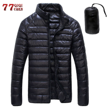 Autumn Winter Down Jacket Men Casual Stand Collar Ultra Light Parka Coat Portable Outwear Windproof White Duck Down Jacket 6XL cheap REGULAR White Duck Down Jacket Men zipper Full Pockets Zippers Thin (Summer) Broadcloth Microfiber NYLON NONE 200g-250g