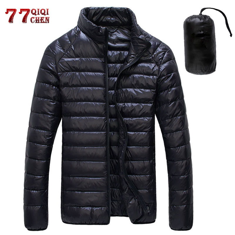 Autumn Winter Down Jacket Men Casual Stand Collar Ultra Light Parka Coat Portable Outwear Windproof White Duck Down Jacket 6XL