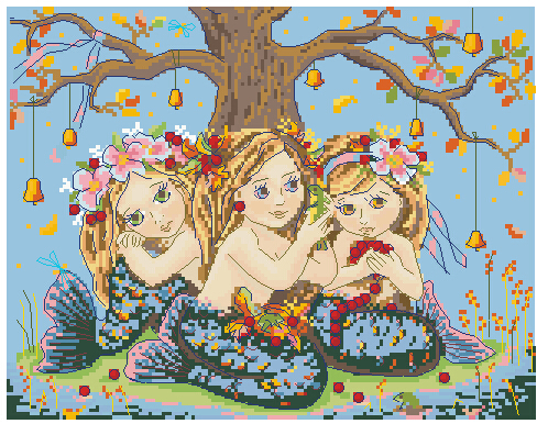 Higher Cotton Counted Lovely Cute Cross Stitch Kit Mermaid Three Mermaids Sister <font><b>Merejka</b></font> Fairy Tree Fruit Fish Tortoise image