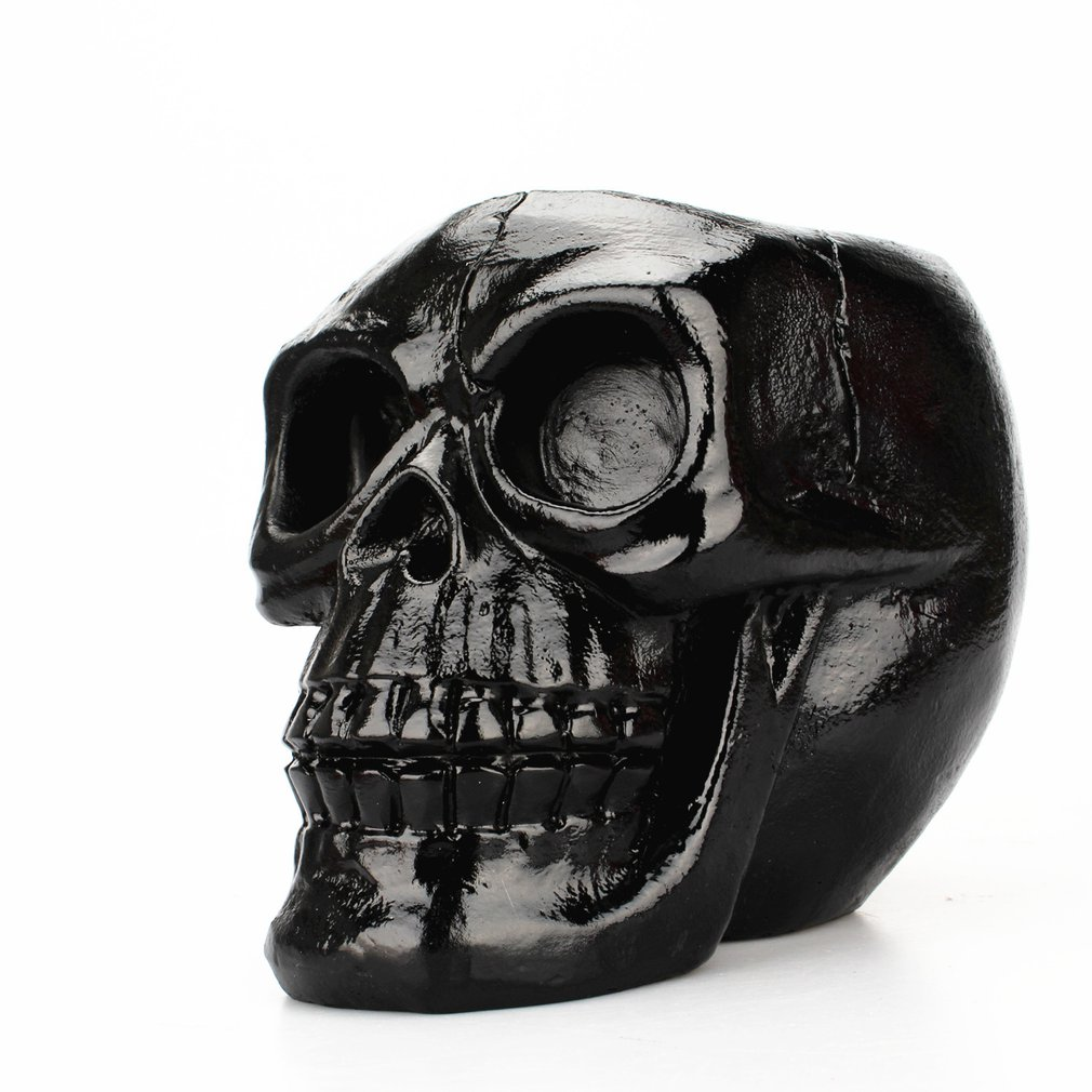Portable Black Skull Head Pen Holder Storage Box Resin Statues Home Desk Decor Birthday Gift Halloween Party Decoration