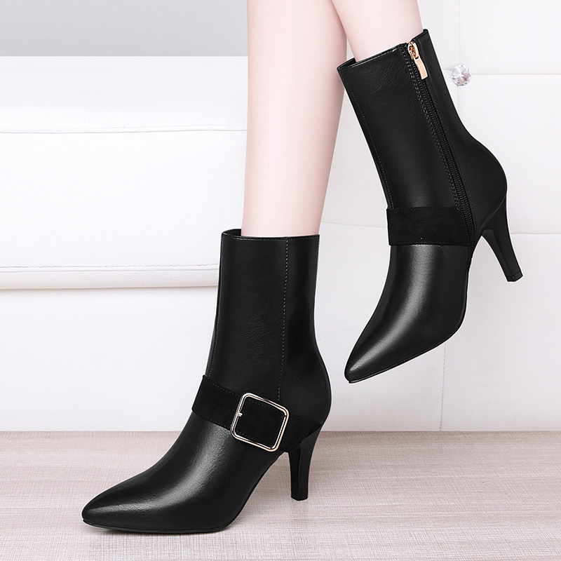 Gucci Tianlun WOMEN'S Boots Waterproof Platform Pointed-Toe Thin Heeled Fashion Shoes Solid Color Side Zipper plus Velvet High H