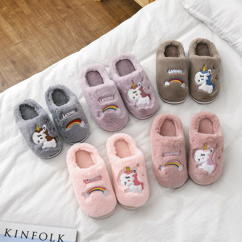 Winter Kids Slippers For Girls Unicorn Boy Cartoon Panda/dinosaur/puppy Cotton Home Shoes Warm Plush Indoor Children Floor Shoes