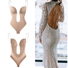 Bodysuit Shapewear Deep V Neck Body Shaper Backless U Plunge Thong Shapers Waist Trainer Women Clear Strap Padded Push Up Corset