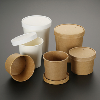 50pcs High quality white/yellow kraft paper disposable round soup cups 230ml/350ml/460ml food salad ice cream paper cup with lid