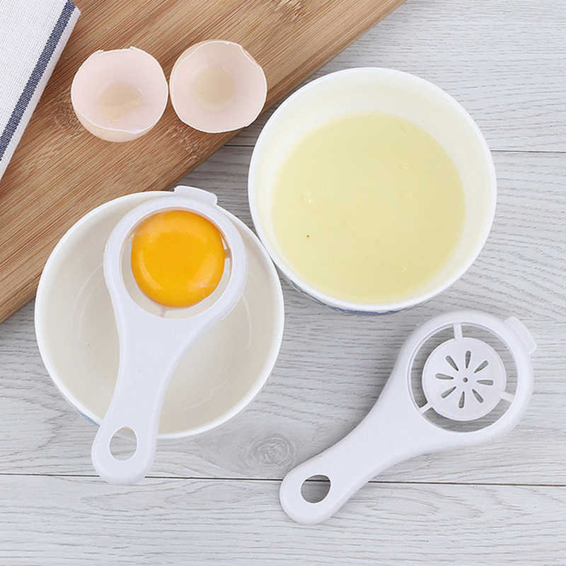 Household Plastic White Egg Yolk Seperator Separator Kitchen Cooking Gadget Sieve Tool White Egg Separator Kitchen Accessories