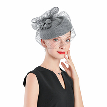 Fedoras Wool  Leaf Hat Gray Fascinator For Women Elegant Church Wedding With Veil Cap Cocktail Tea Party Hair Clip Hat Girls fedoras hat white fascinator for women elegant church headpiece wedding fashion headwear cocktail tea party hair clip hat girls