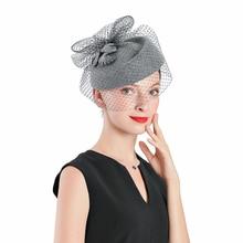 Fedoras Wool  Leaf Hat Gray Fascinator For Women Elegant Church Wedding With Veil Cap Cocktail Tea Party Hair Clip Girls