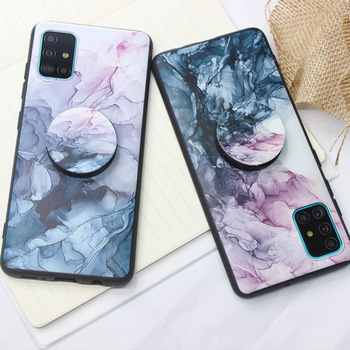 Hand drawn ink Case Phone holder For Huawei Mate 20 Lite Nova 5T Marble Scratch-Resistant Back Cover Soft shell image