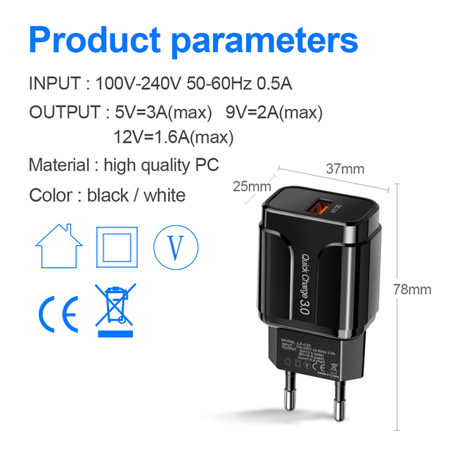 3A Quick Charge 3.0 USB Charger EU Wall Mobile Phone Charger Adapter for iPhone X MAX 7 8 QC3.0 Fast Charging for Samsung Xiaomi 3