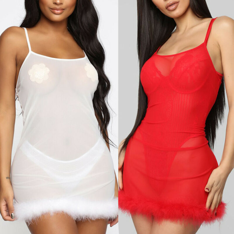 Women Exotic <font><b>Dress</b></font> <font><b>Sexy</b></font> See Through Short Babydoll Sheer Lingerie <font><b>Transparent</b></font> Nightdress Furry Sleepwear Plus Size Red White image