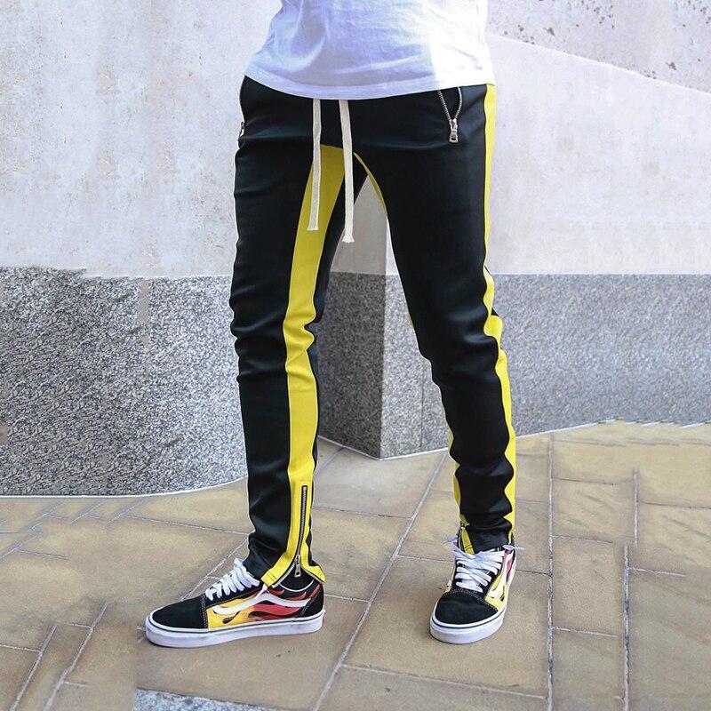 Joggers Harem Pants Men Patchwork Side Skinny Pencil Pant Joggers Streetwear Autumn Sweatpants Casual Tights Track Trousers Men