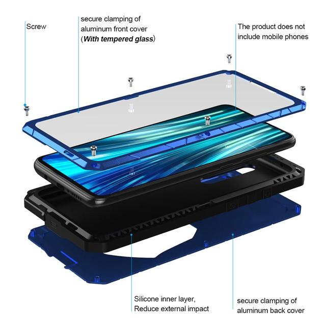 For Xiaomi Mi Redmi Note 8 Phone Case Hard Aluminum Metal Tempered Glass Screen Protector Heavy Duty Cover  for Redmi Note 8 Pro 2