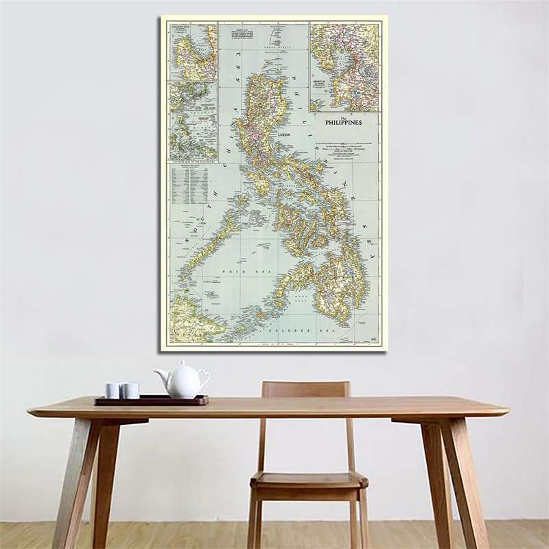 A2 Vintage World Map Philippines(1945) Detailed Poster Wall Chart Retro Paper Kraft Paper Map Of World Office Supplies