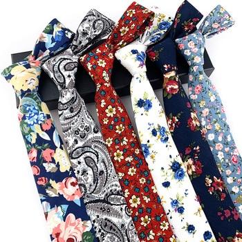 Sitonjwly 2020 Mens Cotton Floral Ties Neck Ties for Men Business Suit Wedding Party Gravatas Slim Neckwear Accessories Cravat недорого