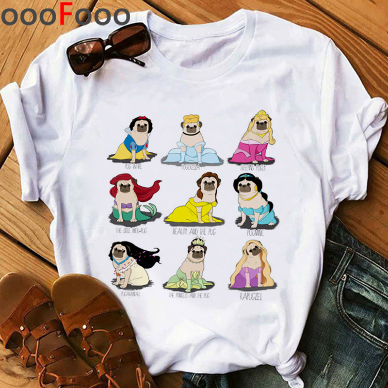 Pug Harajuku Funny Cartoon T Shirt Women Kawaii Dogs Ullzang T-shirt 90s Graphic Tshirt Cute Anime Fashion Top Tees Female