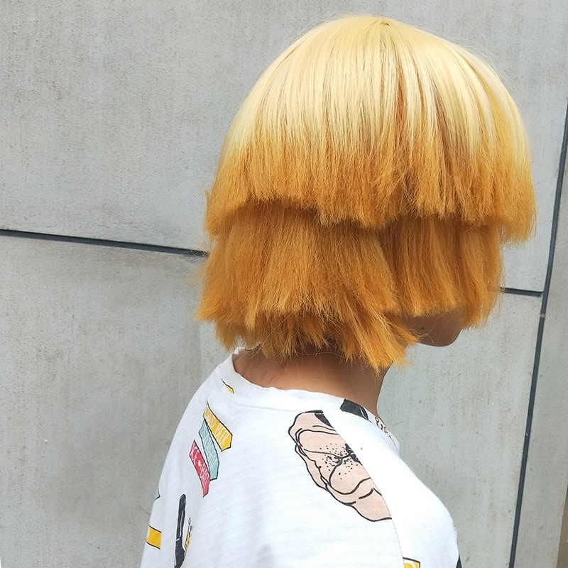 Anime şeytan Slayer: kimetsu hiçbir Yaiba Agatsuma Zenitsu cosplay peruk yetişkin erkek erkek orange kısa saç peruk kostümleri cadılar bayramı partisi
