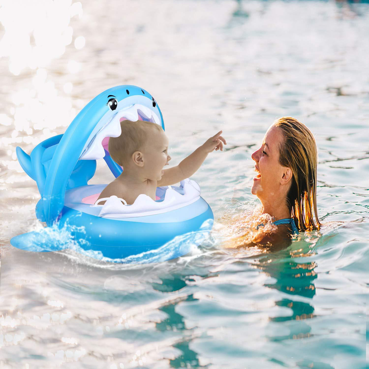 Kid Swimming Float Ring Cute Cartoon Shark Style Inflatable Swimming Swim Ring Float Seat With Detachable Dun Shade For Children