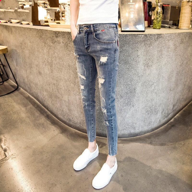 Online Celebrity Celebrity Style Pants Lively Fella Skinny With Holes Capri Jeans Thin Men's Social Person Ripped Jeans