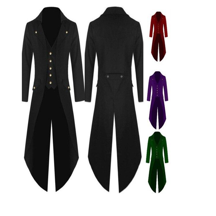 2018 New Style Men Fashion Overcoat Trench Coat Steam Punk Gothic-Style Coat Men Formal Dress
