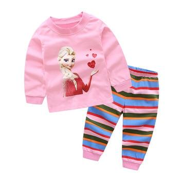 2019 pijamas para niños, conjuntos de ropa para niños, pijamas para niñas, Tops de manga larga de dibujos animados + Pantalones, conjunto de ropa de dormir para niños de 2 piezas