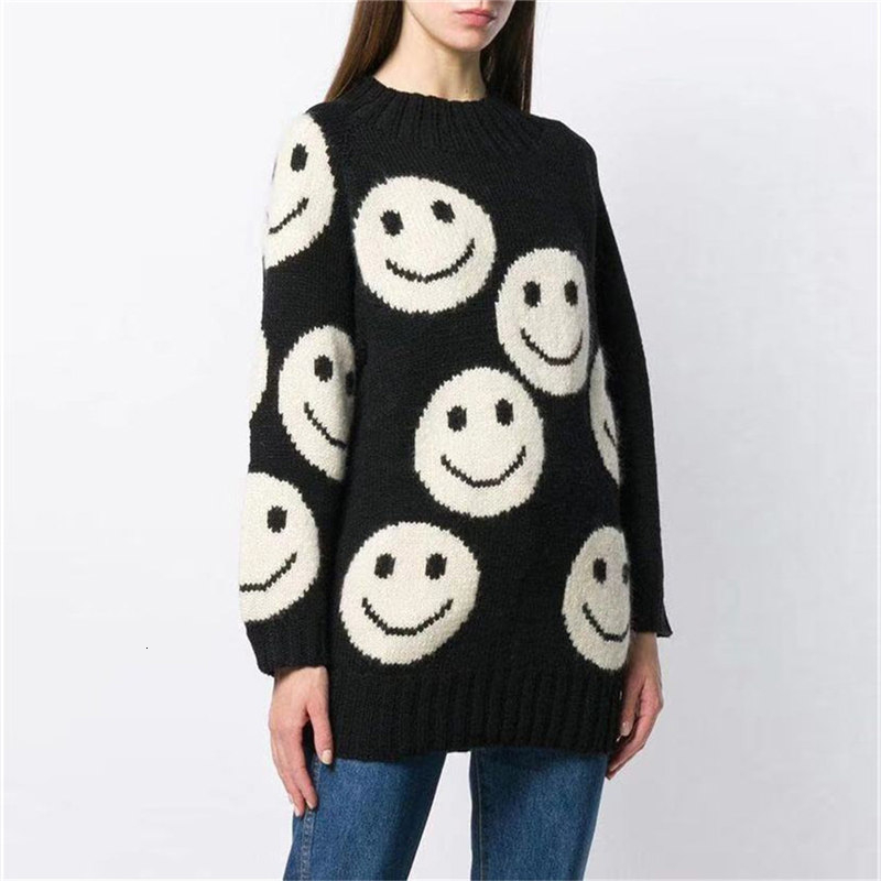 Women's Loose Pullover Sweater Autumn Winter Korean New Smiley Jacquard Simple Long-sleeved Sweater Knitted Girls Sweaters