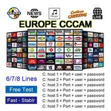 Cline de Ccam para 1 ao 7 líneas, Europa, Espa?a, Portugal, Polonia, DVB-S2, GTmedia, V8, V9, V8X, compatible con cams free test
