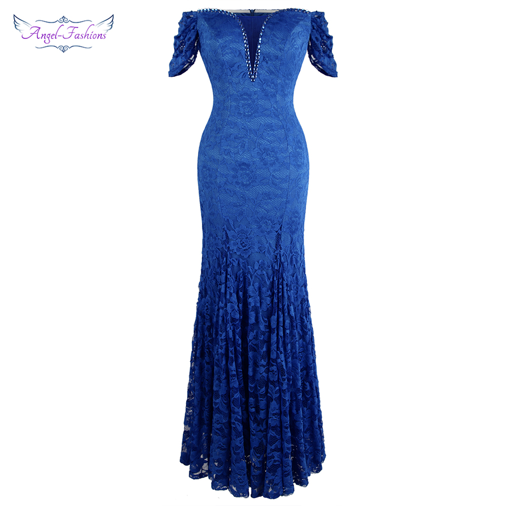 Angel-fashion Women's Off Shoulder Lace Evening Dress Long Beading Short Sleeve Wedding Party Gown Blue 453