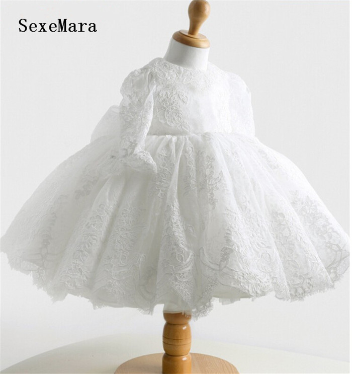 Long sleeve white/ivory ball gown lace   Flower     Girl     Dress   Baby 1 year Birthday christening   dress   baptism gown kids size 3m-24m