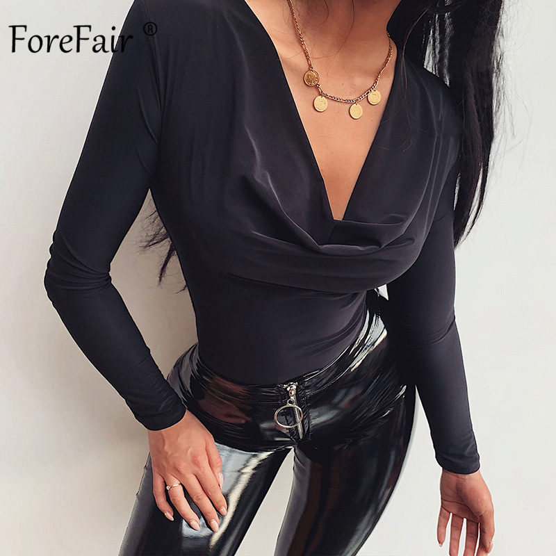Forefair Long Sleeve V Neck Bodysuit Autumn 2019 Women' S Body Slim Elegant Fashion Winter Sexy Bodysuit