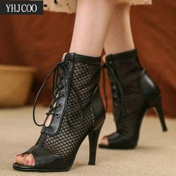 2021 Summer Women's Sandals High Quality Air Mesh Fashion Sexy High Heels Gladiator Sandal Woman Black Dancing Shoes Big Size 47