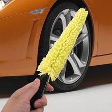 цена на Car Tool Tire Rim Cleaner Car Sponge Black Plastic Handle Wheel Rim Tire Washing Cleaning Scrub Brush