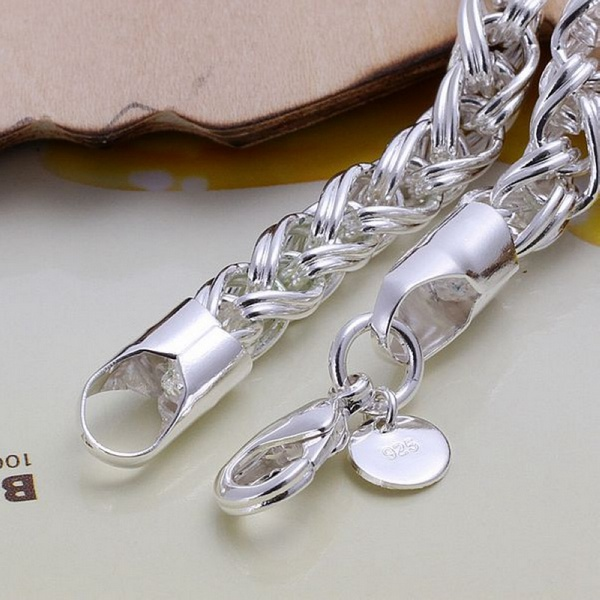Creative twist circle chain women men silver color bracelets new high -quality fashion jewelry Christmas gifts H070 2