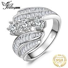 JewelryPalace nişan yüzüğü 925 ayar gümüş yüzük kadınlar için yıldönümü yüzüğü alyanslar kanal seti gümüş 925 takı