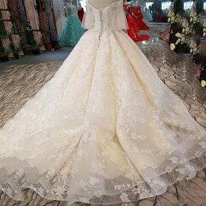 Image 2 - LS11087 light champagne wedding gowns flare half sleeves sweetheart lace up back ball gown from real factory formelle robes