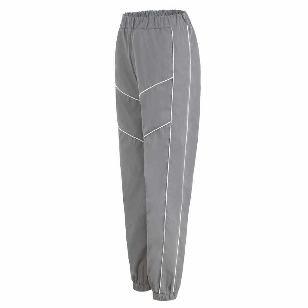 Reflecterende Beam Voet Lichtgevende Jogger Broek 2020 Lente Vrouwen Casual Grijs Effen Streetwear Broek Mode Kleding Pantalones