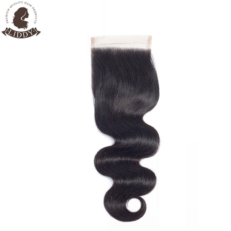 Liddy Body Wave 4x4 Lace Closure 100% Human Hair Closure Peruvian Hair Weaving Natural Color Non-remy Hair Frontal Closure