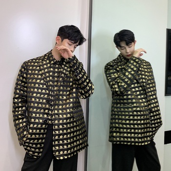 Men Stage Costumes Vintage Elephant Pattern Loose Casual Blazer Suit Jacket Male Streetwear Hip Hop Blazer Coat Outerwear