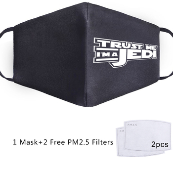 Trust Me Im A Jedi Face Mask Dath Vada Star Wars Print Masque Adult Kids 2Pcs Filters Anti PM 2.5 Dust Mouth Reusable Mouth Mask