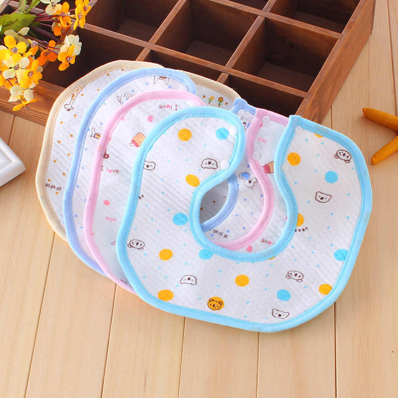 Cute Baby Bibs Cartoon Pattern Toddler Baby Waterproof Saliva Towel Cotton Fit 0-3 Years Old Infant Burp Cloths Feeding
