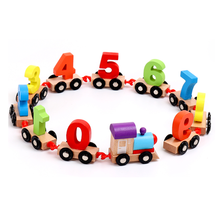 Baby Montessori Toys Wood Numbers Train Set Figure Model Pattern 0~9 11pcs Early Educational Wooden Toys Set For Kids