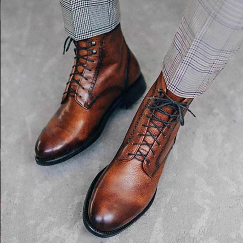 Masorini hommes bottes en cuir Pu chaussures d'hiver mode homme à lacets chaud bottines hommes Rivet Brithsh chaussures BRM 053