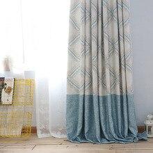 Новый американский стиль простой небольшой свежий синий крест печать копия конопля оттенок штор для гостиной и столовой спальня.