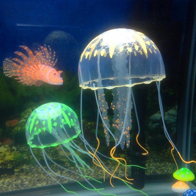 Random Artificial Aquarium Jellyfish Ornament Decor Glowing Effect Fish Tank Decoration Aquatic Pet Supplies Home Accessories 1